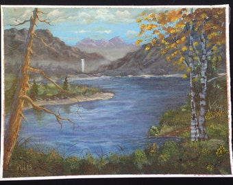 Original Hand Painted Acrylic Painting Out Door Scenery Landscape Fall Lake Mountains
