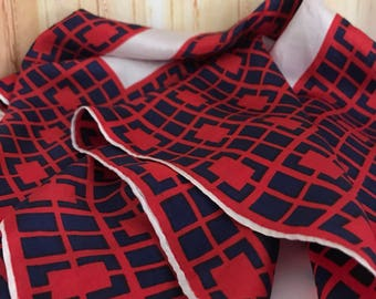 Vintage Americana Style Silk Scarf 1970s Red Navy Blue and White