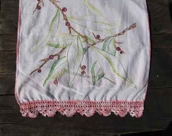 "VTG Embroidered Cotton Dresser Scarf Runner Crochet Lace 44"" X 16""  Tree Branch Berries"