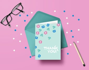 Printable thank you cards | Cascading jewels | DIY