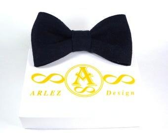 Navy Blue Bow Tie, Dark blue bow tie, Dark blue tie, Blue linen bow tie, Bow ties for men, Blue wedding bowtie, boyfriend gift