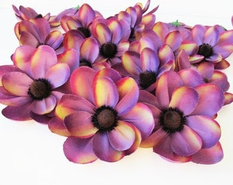"22 Purple Magnolias Silk Artificial Flowers Brown Centers Blossoms 4"" Floral Supply Supplies Faux Fake DIY Wedding"