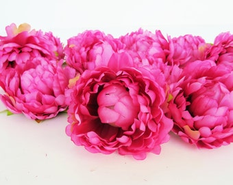 """11 Mini Peonies Artificial Silk Flowers Pink Peony measuring 3.1"""" Floral Hair Accessories Flower Supplies Faux Fake DIY Wedding Party"""