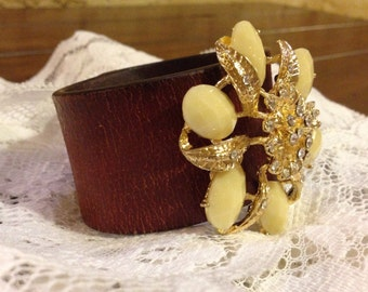Upcycled Leather Cuff Belt Bracelet with Yellow Flower