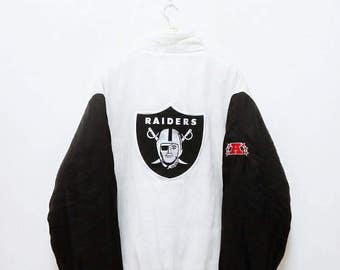 Hot Sale!!! Rare Vintage 90s Reebok OAKLAND RAIDERS NFL Embroidery Big Logo Puffer Down Winter Jacket Hip Hop  Swag Double Large Oversize