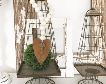 Wood Bead garland  - Bead Garland  - BoHo Decor - Key to my Heart - Farmhouse Decor - Farmhouse Style - Wood Garland