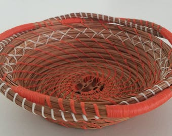 Orange & White Basket - Coiled Pine Needles with Black Walnut - Decor Wall Hanging Cabinet Table Rings Jewelry Holder - Made in FL  40.00