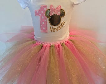 Embroidered Minnie Mouse First Birthday (any age) outfit onesie shirt or tutu