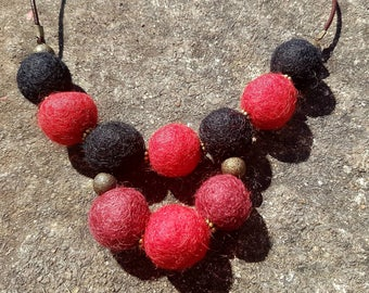 Black and Red Felted Necklace