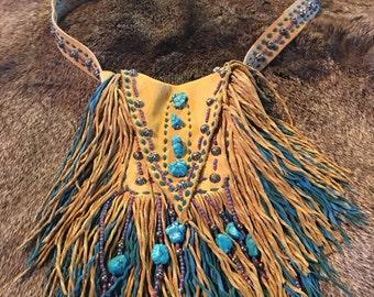 Handmade Buckskin and Turquoise Cross Medicine Bag