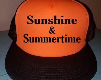 Sunshine & Summertime Trucker Hat Snapback Hat  River Rat River Hat Lake Hat Havasu Adjustable Trucker Hat  Beach Hat Custom Trucker