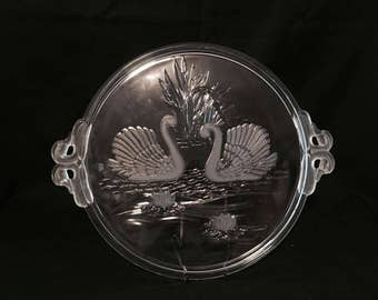 Swan Tray with Frosted Glass Swans, Swan Head Handled Hostess Tray, Swan Themed Platter, Swan Decoration