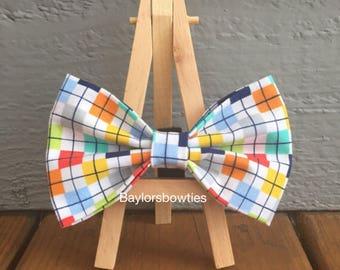 Dog bow tie, Colorful dog bow tie, colorful check dog bow tie