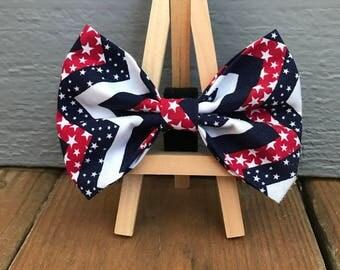 Chevron Fourth of July dog bow tie
