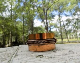 Vintage Retro Mid-Century Mod 50's 60's Wide Copper Statement Adjustable Cuff Bangle Bracelet