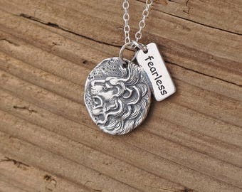 Sterling Silver Ancient Lion Coin Fearless Charm Necklace Courage Strength