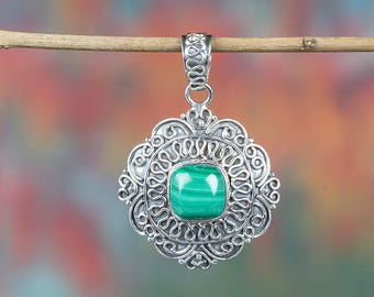Malachite Pendant, Pure 92.5% Sterling Silver Pendant, May Birthstone Jewellery, Vintage Jewellery, Nickel Free Pendant, Gift For Her,