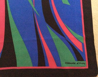 Claude D'Arcy FRANCE VINTAGE SILK Scarf - 100% Silk - Signed Claude D'Arcy - Haute Couture, Hand made - Paris France