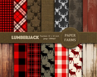 Lumberjack digital paper, lumberjack scrapbook paper, rustic digital paper, forest, plaid, gingham, buffalo, wood, instant download