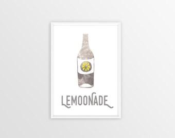 A4, Lemoonade, Wall art, Decoration, Home decor, Print, Mural Art, moon, lemonade, bottle