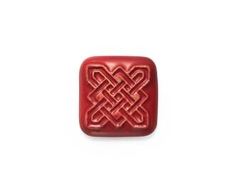Ceramic Celtic Square Red Velvet Cabochon 1 piece