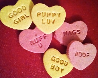 Valentine's Day Dog Treats * Conversation Hearts * Healthy & Soft * Grain Free Coconut Flour