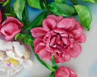 Peony. Picture embroidery ribbons