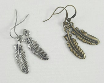Sale Feather Earrings, Silver Feather,  Antique Bronze Feather Charm Earrings, Clearance Earrings, Sale Earrings, Discounted Earrings