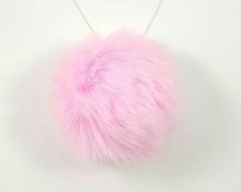 Faux Fur Pom Pom Necklace, Fairy Kei, Harajuku Necklace, Babydoll, Baby Doll