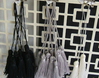 Tassels, Lot of 22, Individually Handmade, Omega Threads #2, Solid Colors, Black, White, Gray