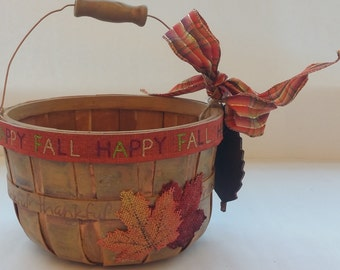 "FALL Small Wooden Gift Basket Planter Centerpiece ""HAPPY FALL"""