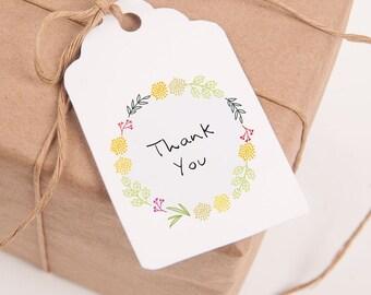 Printable Thank You Tags, Favor Tags, Gift Tags, Thank You Tags Printable, Printable Favor Tags, Modern, Botanical Wreath, Wedding, Tags