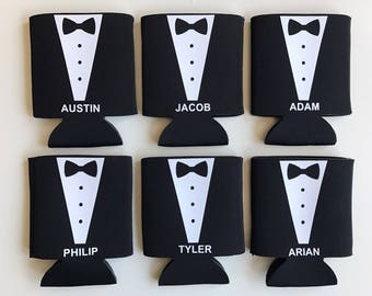 Tuxedo Can Coolers - Groomsman Can Coolers - Groomsmen Gift - Wedding Party Gift - Names