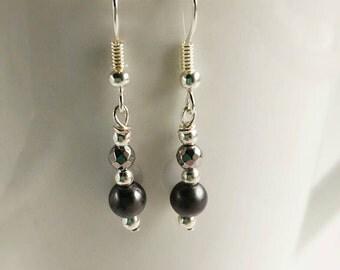 Gray Pearl & Chrome Bead Silver Tone Dangle Earrings