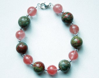Unakite and Cherry Quartz Bracelet with Sterling Silver