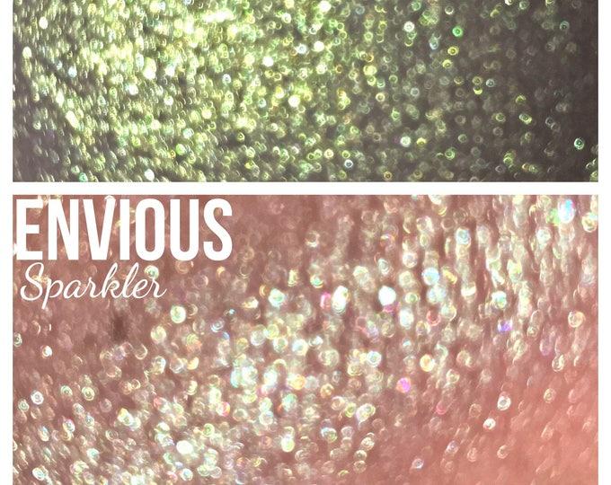 ENVIOUS- Sparkler - Iridescent green with lime green sparkles - highlighter / eyeshadow / body glitter