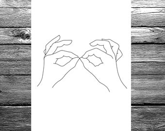Women's hands linear line hand drawing available in A6, A5 or A4 size, black and white minimal artwork illustration print / poster