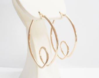 Hoop Earrings, Sterling Hoops, Swirl Hoops, Silver Hoops, Rose Gold Plated, Rose Gold Plated Sterling Silver Hoop Earrings Hoops #2802