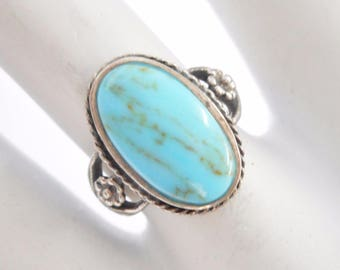 Turquoise Ring, Native American Ring, Sterling Ring, Rings, Vintage Sterling Silver Oval Turquoise Southwestern Ring Sz 6.75 #3010