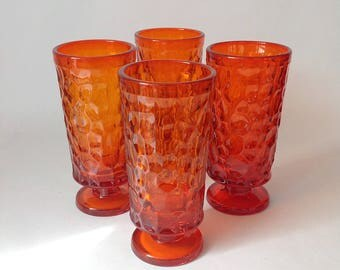 Vibrant Set of 4 Flaming Orange Pebble Beach Footed Tumbler Water/Goblets by Fostoria
