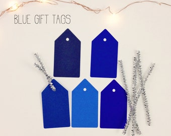Christmas Gift Tags- Blue Gift Tag Set of 20 Includes Silver Wire, Blue Tags, Gift Tags, Holiday Gift Tags, Christmas Gift Wrap