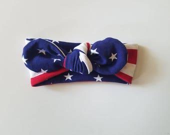 baby headband - toddler headband - 4th of july headband - top knot headband - headwrap - patriotic