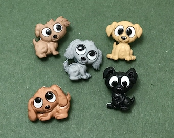 Playful Puppies - Novelty  Dog Buttons - Fun Buttons - Canine - Cute Embellishments -  Sewing - Jewellery - Scrapbooking - Card Making