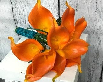 Bridesmaid bouquet, Orange calla lily real touch wedding bouquet, Fall bridal bouquet, Turquoise bouquet, Vibrant autumn bouquet,