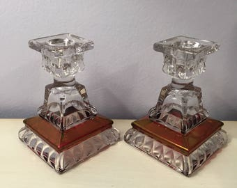 "Vintage Pair Midcentury WESTMORELAND ""WEDDING RUBY"" Red / Cranberry Flash Stained Single Light Candlesticks Candle Holders"