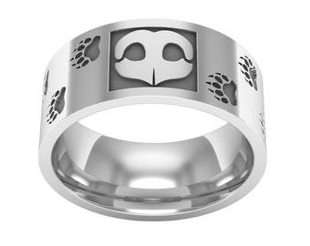 Sterling Silver Bear Nose Print Ring, Bear Footprint Band Ring, Bear Ring, Wedding Band Ring, Silver Man Ring, Love Bears, Animal Ring