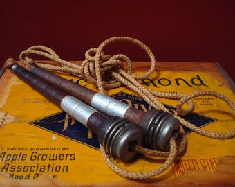 Vintage Wooden Handle Children's Jump Rope, Skipping Rope with Metal End Caps ca. 1900's