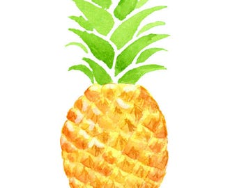 Watercolor Pineapple Clipart, Tropical, Summer, Fruit, Exotic, Illustration, Scrap-booking