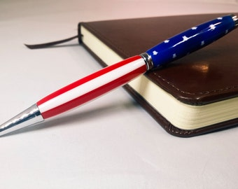 American Flag Slimline Pen with Chrome Accents