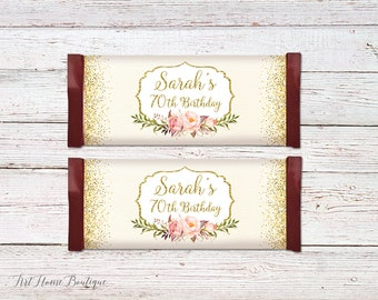 Birthday Candy Wrapper Favors, Any Age Candy Bar Wrappers, Floral Candy Wrappers, Birthday Candy Bar Wrapper Covers, #BW23